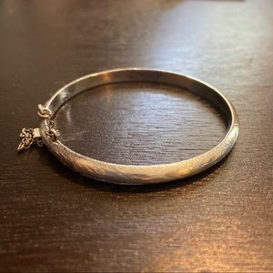 Thin Etched 925 Sterling Silver Bracelet
